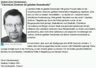 Leserbrief Wendenkampf 8.7.2009, Volksstimme Lokalausgabe Magdeburg